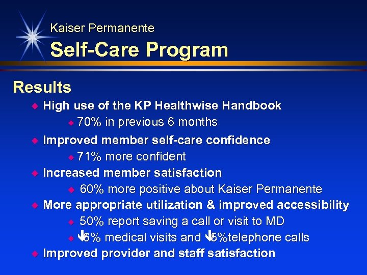 Kaiser Permanente Self-Care Program Results u u u High use of the KP Healthwise