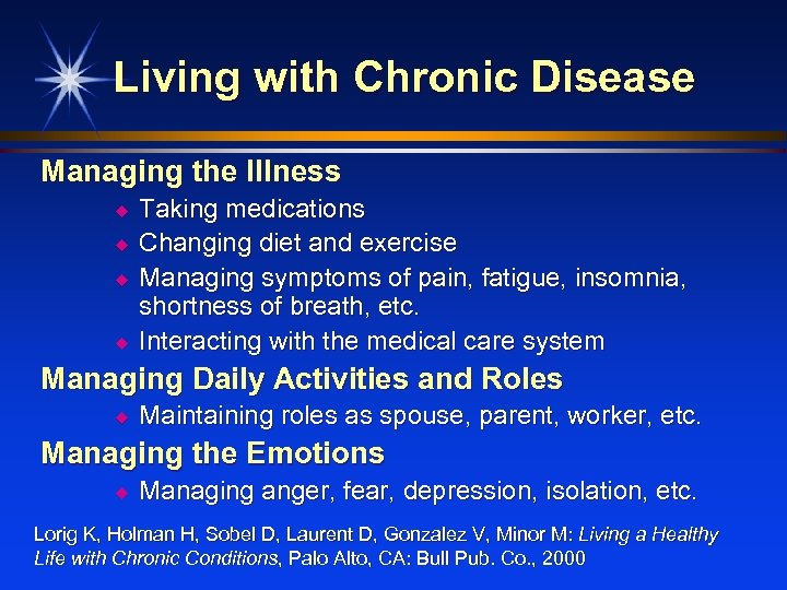 Living with Chronic Disease Managing the Illness u u Taking medications Changing diet and