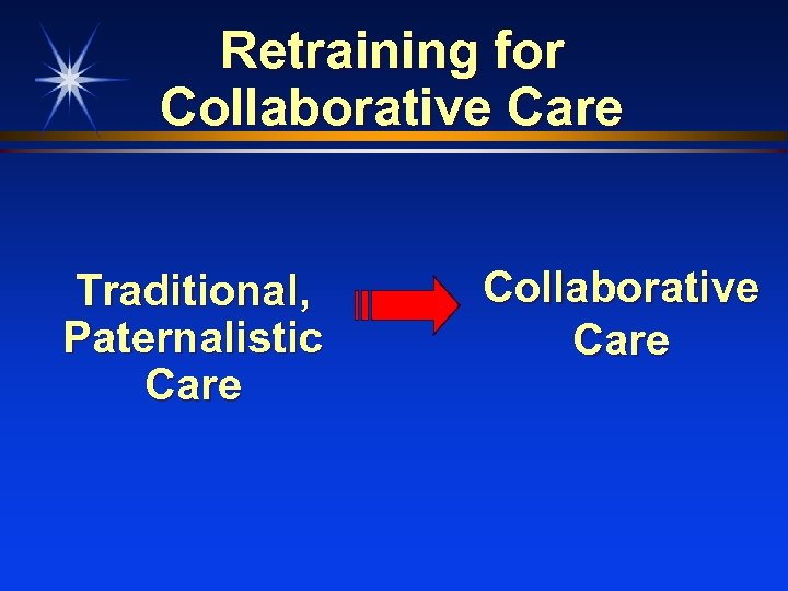 Retraining for Collaborative Care Traditional, Paternalistic Care Collaborative Care