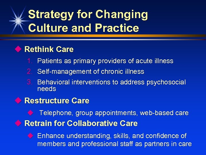 Strategy for Changing Culture and Practice u Rethink Care 1. Patients as primary providers