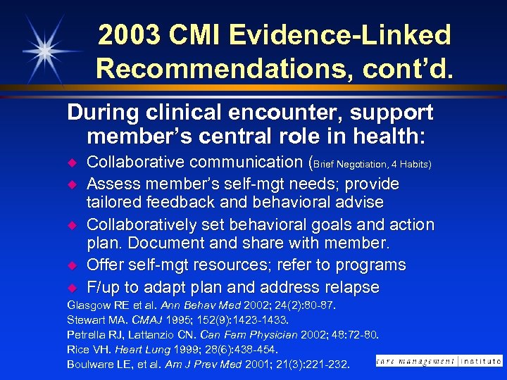 2003 CMI Evidence-Linked Recommendations, cont'd. During clinical encounter, support member's central role in health: