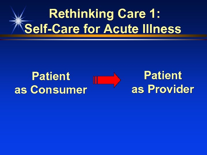 Rethinking Care 1: Self-Care for Acute Illness Patient as Consumer Patient as Provider