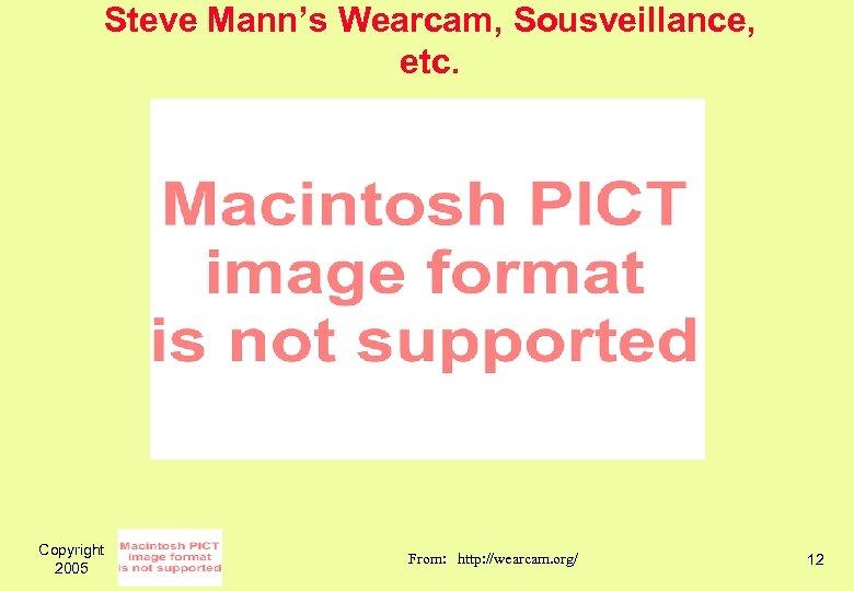 Steve Mann's Wearcam, Sousveillance, etc. Copyright 2005 From: http: //wearcam. org/ 12