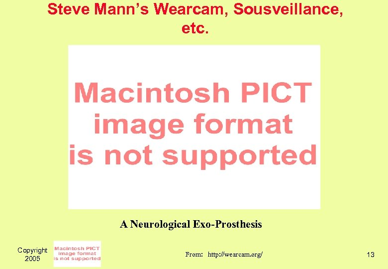 Steve Mann's Wearcam, Sousveillance, etc. A Neurological Exo-Prosthesis Copyright 2005 From: http: //wearcam. org/