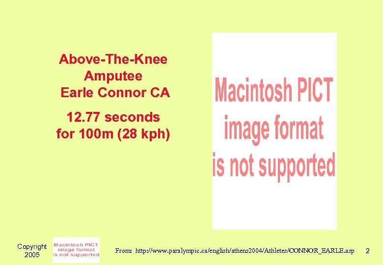 Above-The-Knee Amputee Earle Connor CA 12. 77 seconds for 100 m (28 kph) Copyright