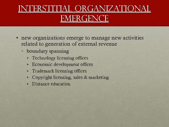 Interstitial organizational emergence • new organizations emerge to manage new activities related to generation