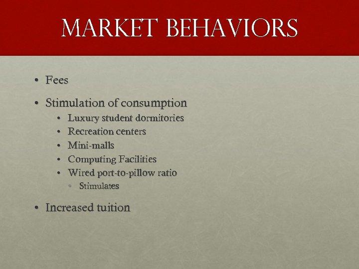 Market behaviors • Fees • Stimulation of consumption • • • Luxury student dormitories