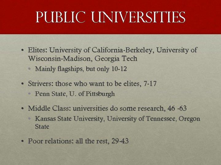 PUBLIC UNIVERSITIES • Elites: University of California-Berkeley, University of Wisconsin-Madison, Georgia Tech • Mainly