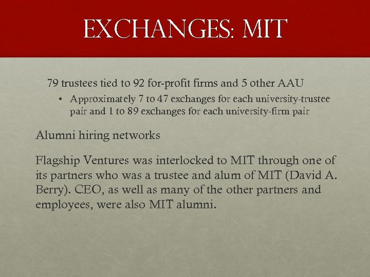 EXCHANGES: MIT 79 trustees tied to 92 for-profit firms and 5 other AAU •