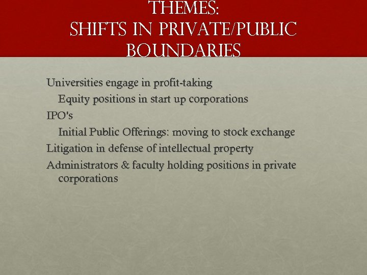 THEMES: SHIFTS IN PRIVATE/PUBLIC BOUNDARIES Universities engage in profit-taking Equity positions in start up