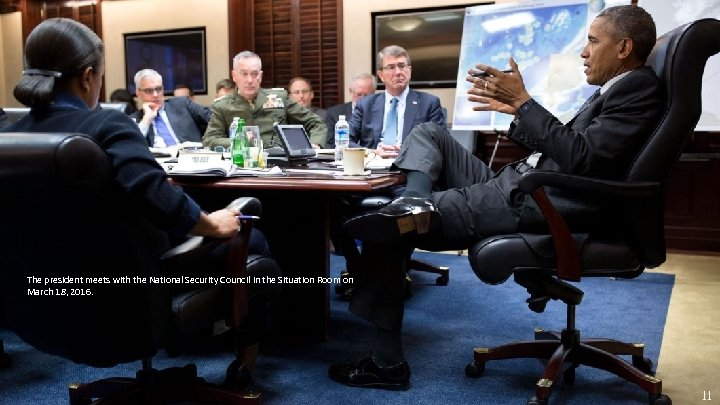 The president meets with the National Security Council in the Situation Room on March