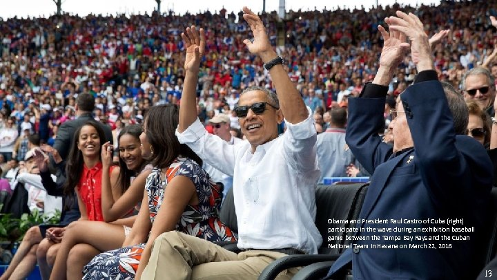Obama and President Raul Castro of Cuba (right) participate in the wave during an