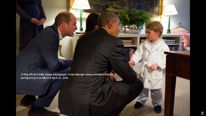 In this official White House photograph, Prince George meets President Obama during a trip