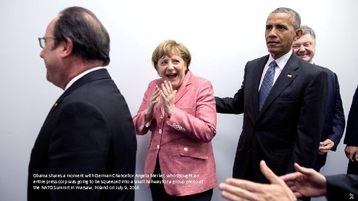 Obama shares a moment with German Chancellor Angela Merkel, who thought an entire press