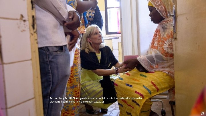 Second Lady Dr. Jill Biden greets a mother of triplets in the maternity room