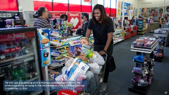 The First Lady goes shopping at a CVS Pharmacy in preparation for life after