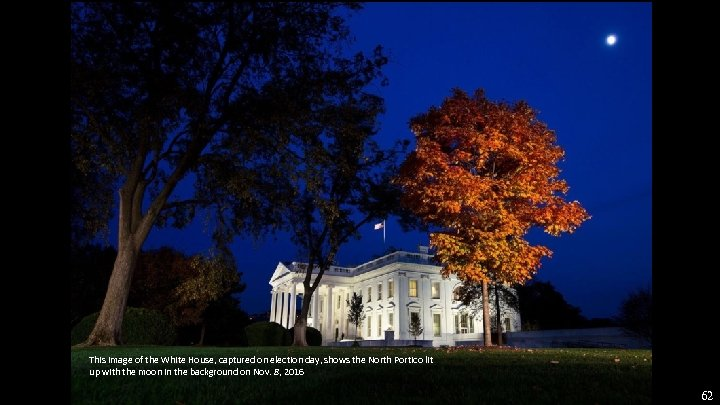 This image of the White House, captured on election day, shows the North Portico