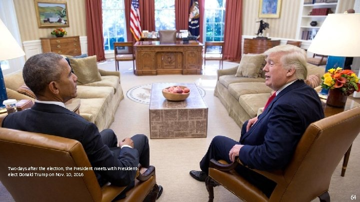 Two days after the election, the President meets with Presidentelect Donald Trump on Nov.
