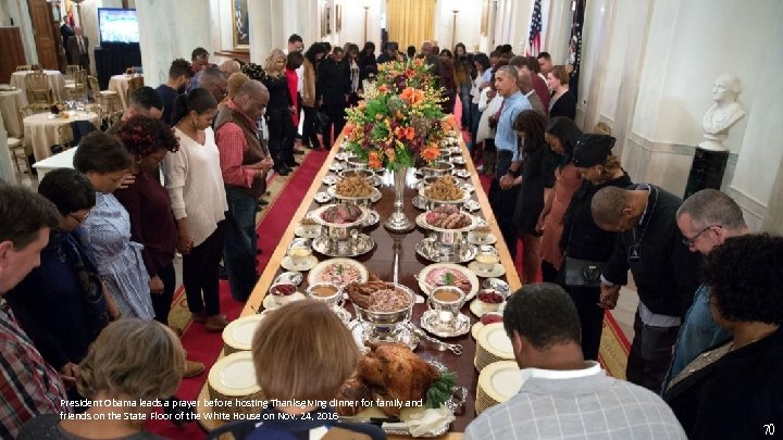 President Obama leads a prayer before hosting Thanksgiving dinner for family and friends on