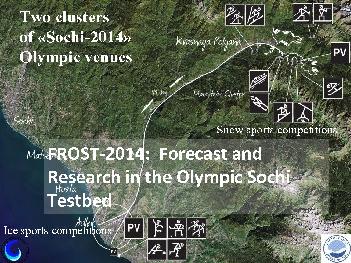 Two clusters of «Sochi-2014» Olympic venues Snow sports competitions FROST-2014: Forecast and Research in
