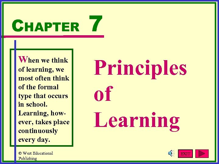 CHAPTER When we think of learning, we most often think of the formal type