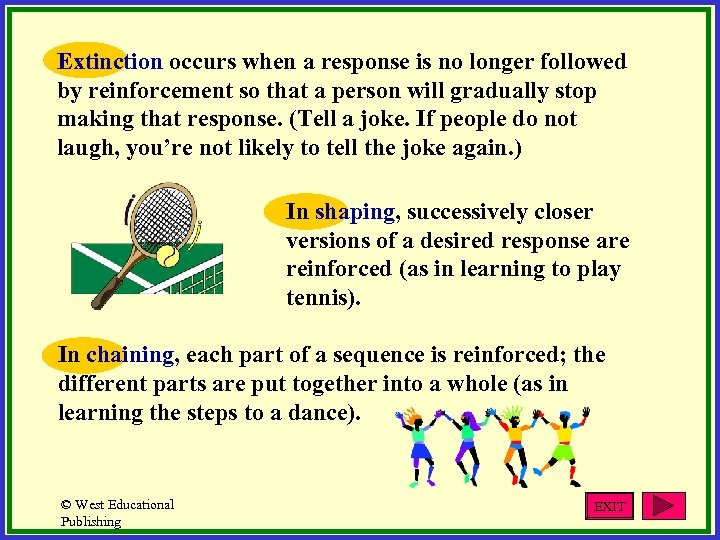 Extinction occurs when a response is no longer followed by reinforcement so that a