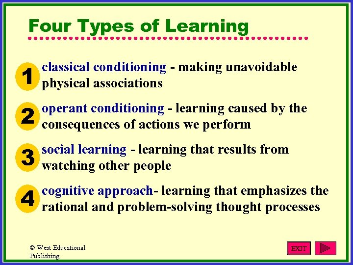 Four Types of Learning 1 classical conditioning - making unavoidable physical associations 2 operant
