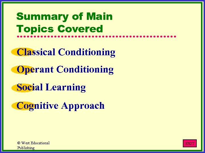 Summary of Main Topics Covered Classical Conditioning Operant Conditioning Social Learning Cognitive Approach ©