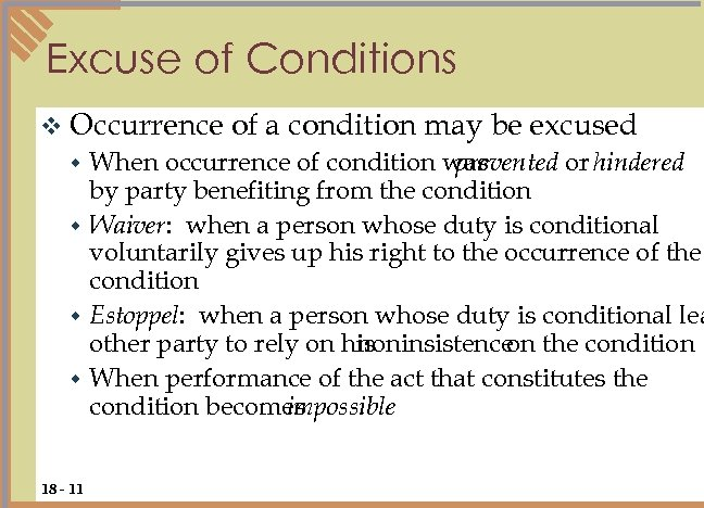 Excuse of Conditions v Occurrence of a condition may be excused When occurrence of