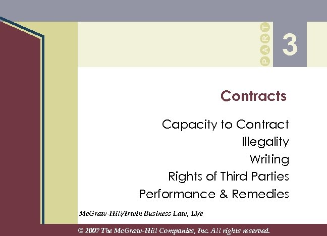 P A R T 3 Contracts Capacity to Contract Illegality Writing Rights of Third
