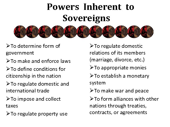 Powers Inherent to Sovereigns ØTo determine form of government ØTo make and enforce laws
