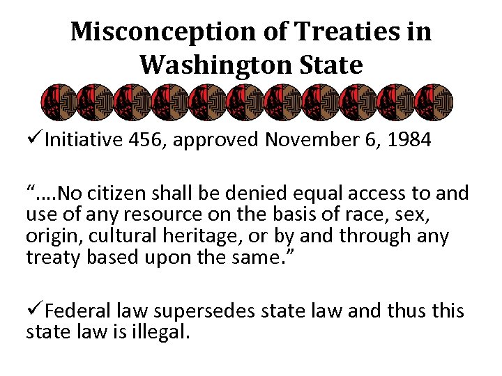 "Misconception of Treaties in Washington State üInitiative 456, approved November 6, 1984 ""…. No"