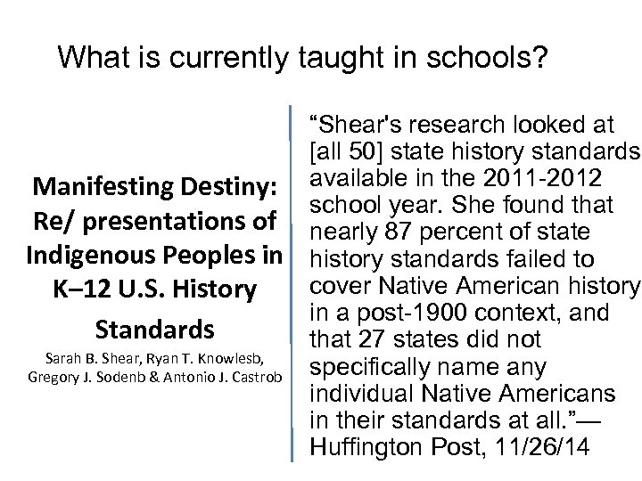 What is currently taught in schools? Manifesting Destiny: Re/ presentations of Indigenous Peoples in