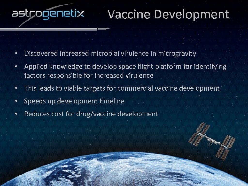 Vaccine Development • Discovered increased microbial virulence in microgravity • Applied knowledge to develop