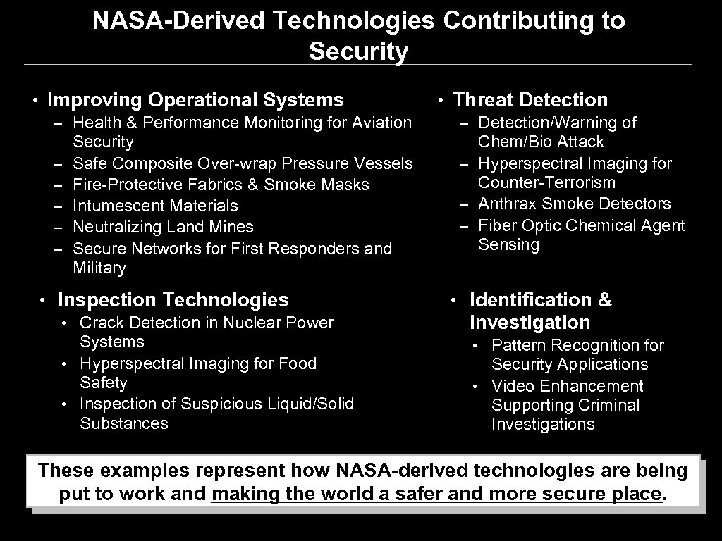 NASA-Derived Technologies Contributing to Security • Improving Operational Systems – Health & Performance Monitoring