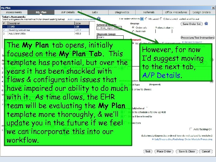 The My Plan tab opens, initially focused on the My Plan Tab. This template