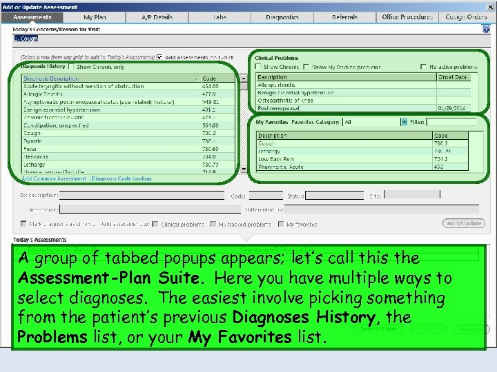 A group of tabbed popups appears; let's call this the Assessment-Plan Suite. Here you