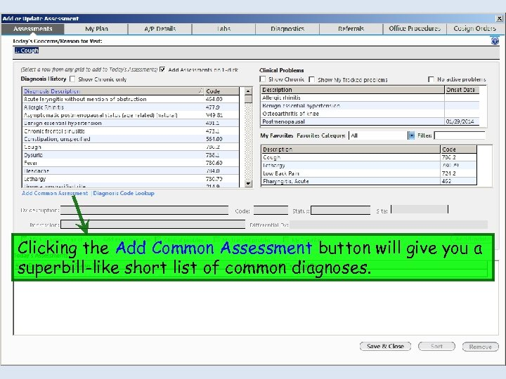 Clicking the Add Common Assessment button will give you a superbill-like short list of