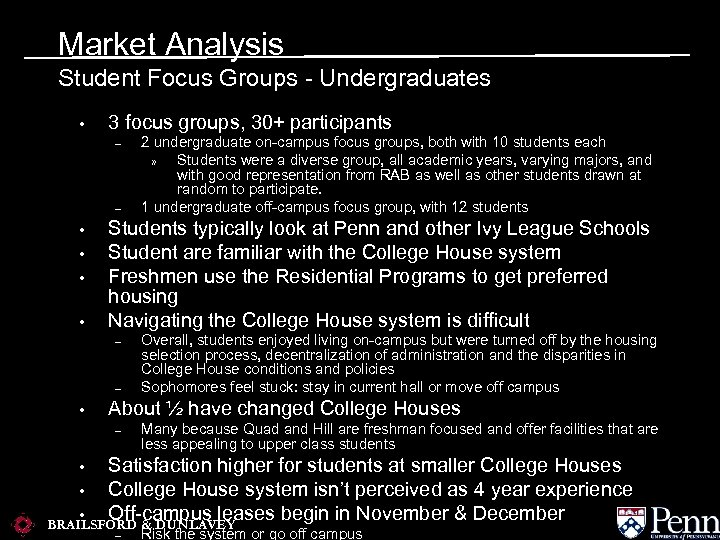 Market Analysis Student Focus Groups - Undergraduates • 3 focus groups, 30+ participants –