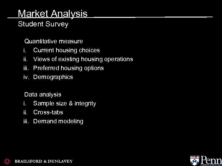 Market Analysis Student Survey a. Quantitative measure i. Current housing choices ii. Views of