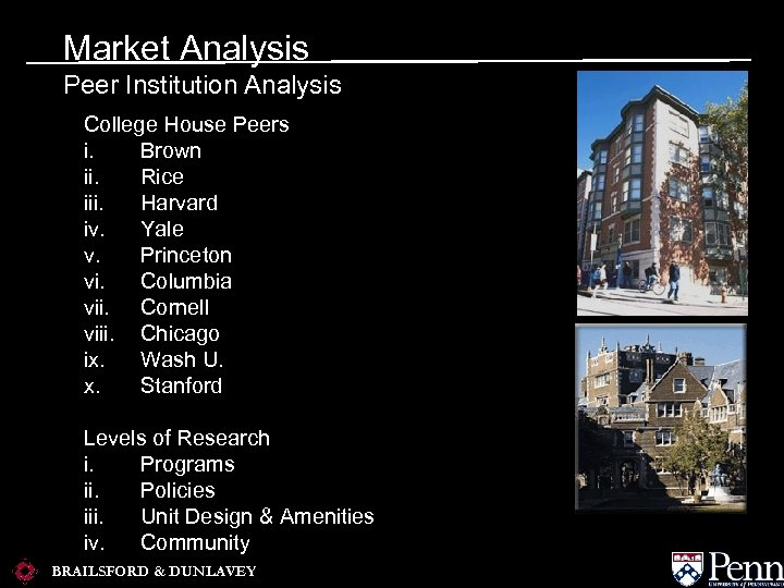 Market Analysis Peer Institution Analysis College House Peers i. Brown ii. Rice iii. Harvard