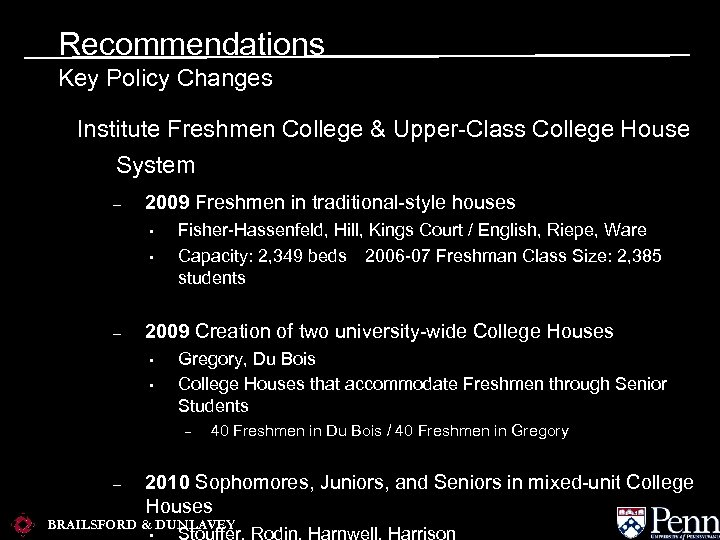 Recommendations Key Policy Changes Institute Freshmen College & Upper-Class College House System – 2009