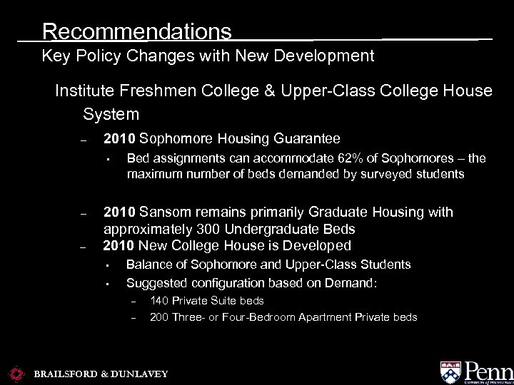 Recommendations Key Policy Changes with New Development Institute Freshmen College & Upper-Class College House