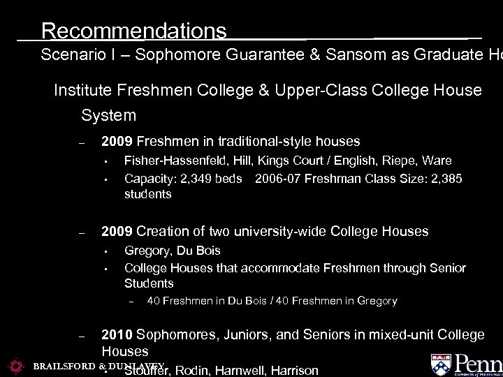 Recommendations Scenario I – Sophomore Guarantee & Sansom as Graduate Ho Institute Freshmen College