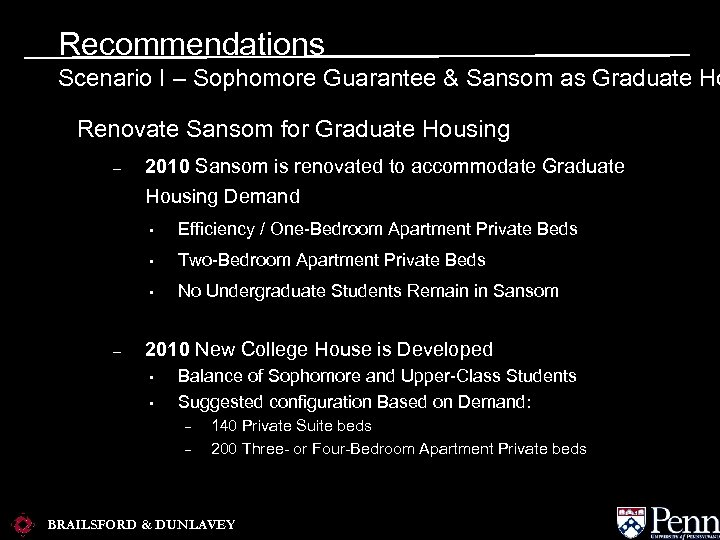 Recommendations Scenario I – Sophomore Guarantee & Sansom as Graduate Ho Renovate Sansom for