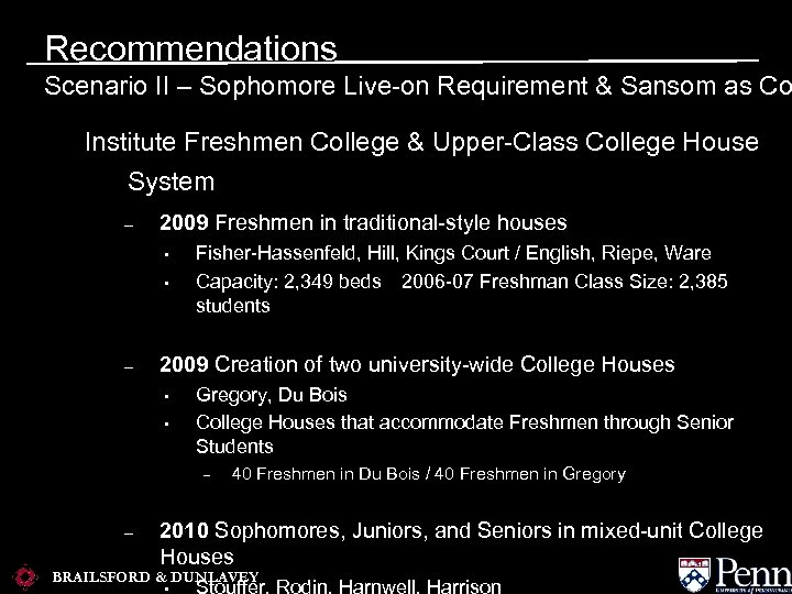 Recommendations Scenario II – Sophomore Live-on Requirement & Sansom as Co Institute Freshmen College
