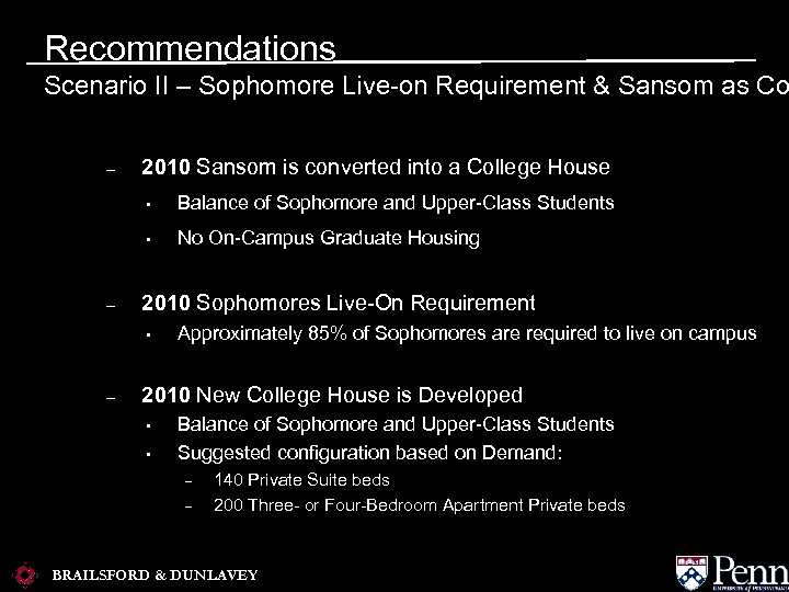 Recommendations Scenario II – Sophomore Live-on Requirement & Sansom as Co – 2010 Sansom