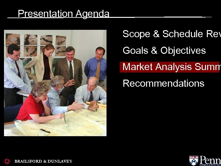 Presentation Agenda Scope & Schedule Rev Goals & Objectives Market Analysis Summ Recommendations BRAILSFORD
