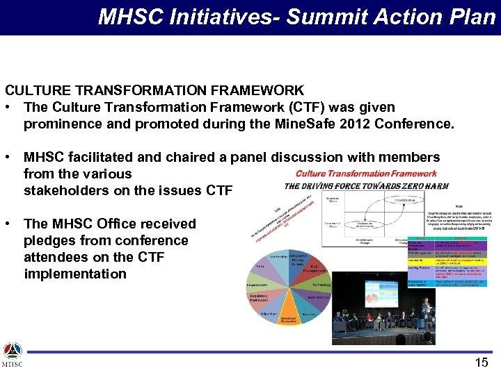 MHSC Initiatives- Summit Action Plan CULTURE TRANSFORMATION FRAMEWORK • The Culture Transformation Framework (CTF)