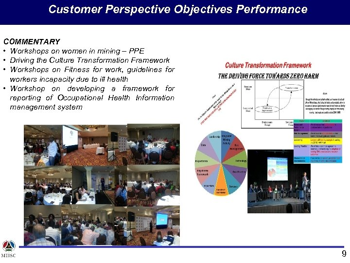 Customer Perspective Objectives Performance COMMENTARY • Workshops on women in mining – PPE •